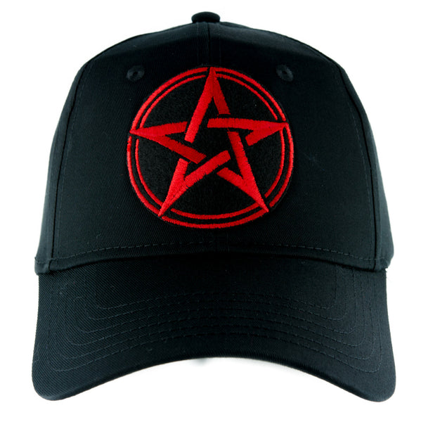 Red Wicca Pentagram Hat Baseball Cap Alternative Pagan Clothing Witchcraft