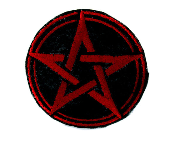 Red Wicca Woven Pentagram Patch Iron on Applique Alternative Clothing Pagan Witchcraft