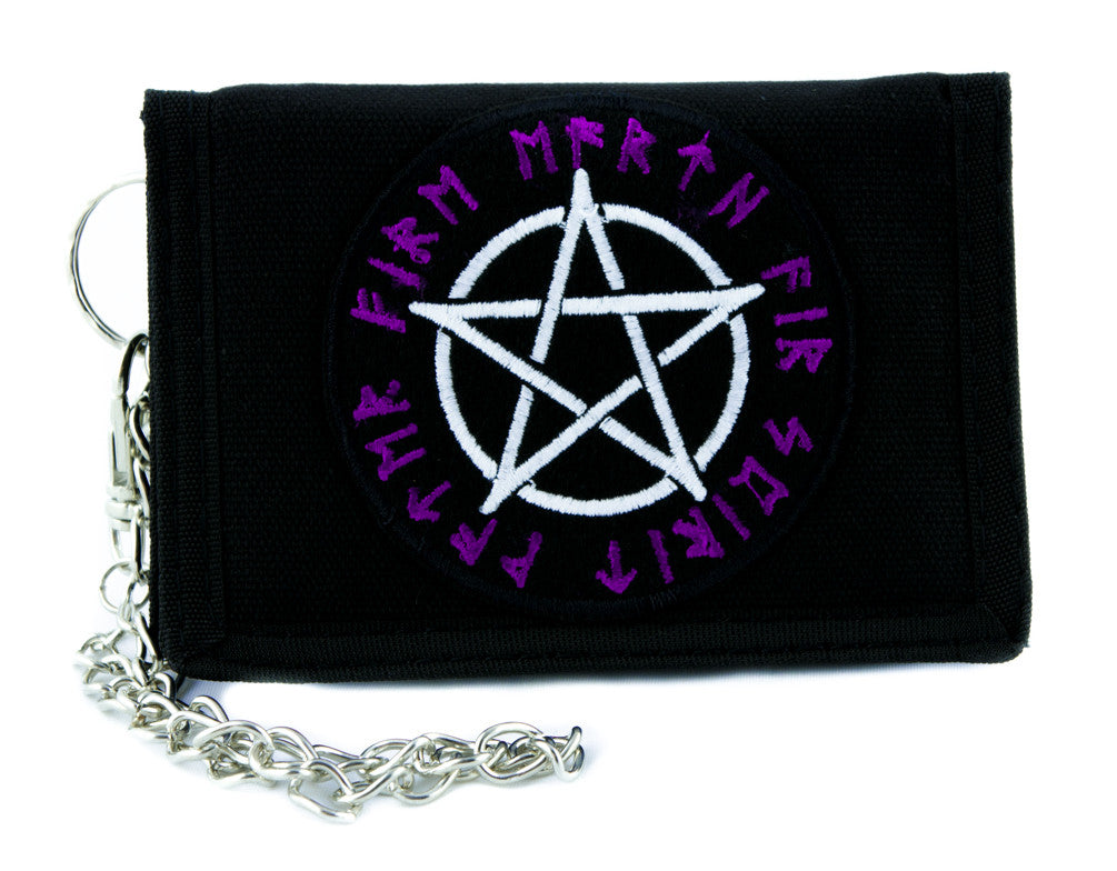 Rune Script Wicca Pentagram Tri-fold Wallet w/ Chain Norse Alternative Clothing Witchcraft