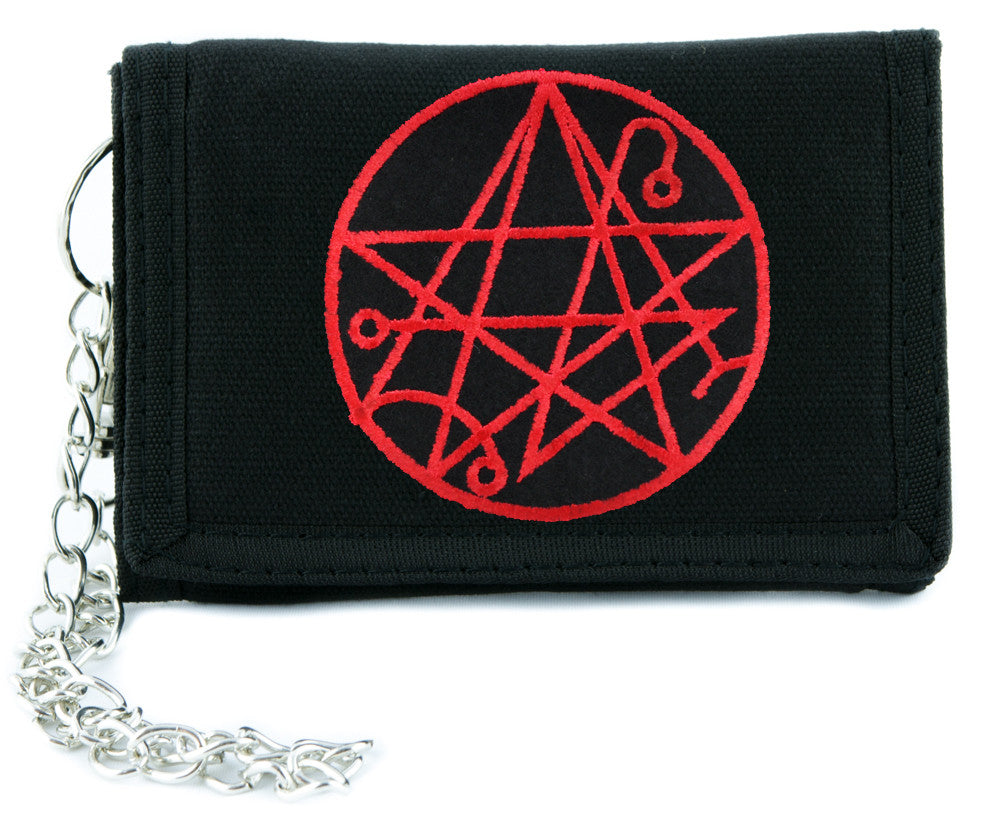 Necronomicon Gate Alchemy Symbol Tri-fold Wallet w/ Chain Occult Clothing