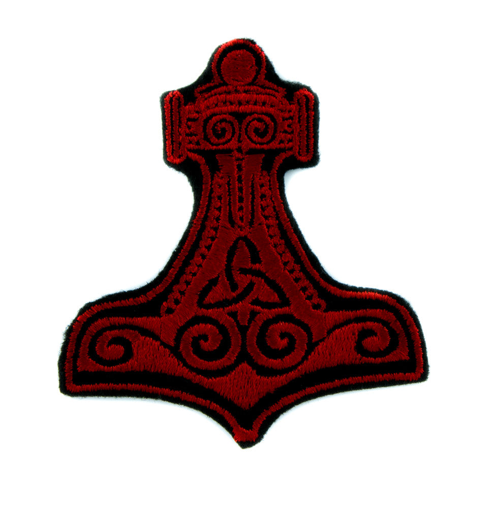 Red Thor's Hammer Norse Viking Symbol Patch Iron on Applique Alternative Clothing