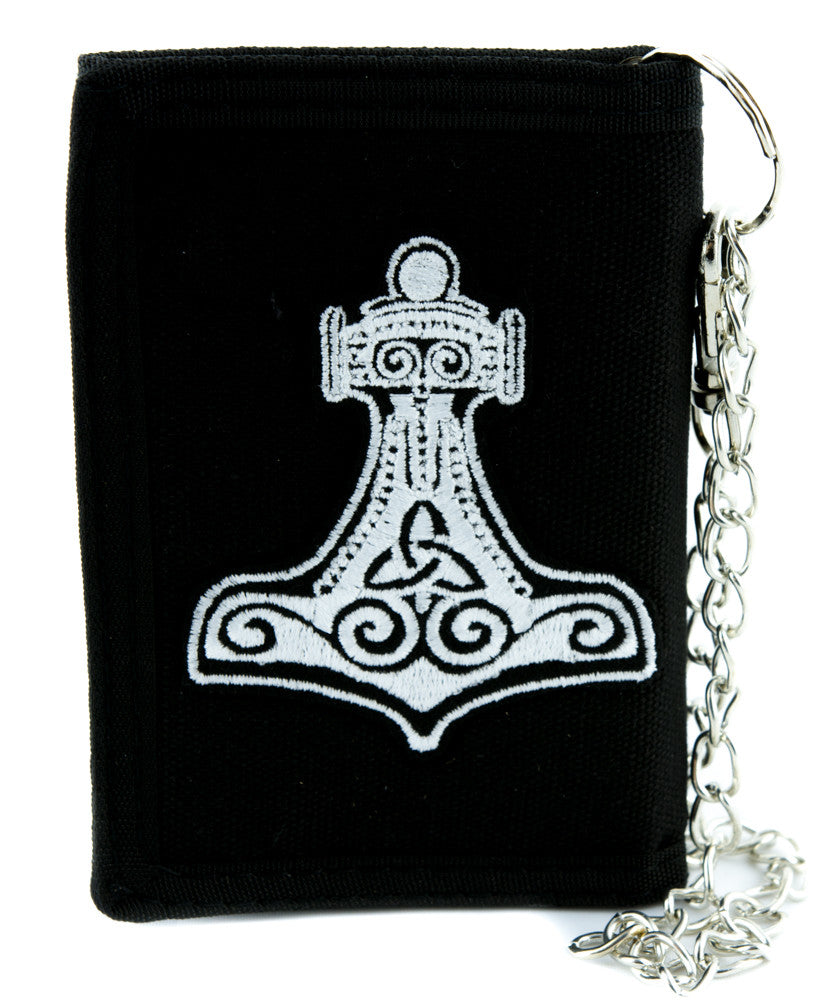 White Hammer of Thor Tri-fold Wallet Alternative Clothing Odin Norse Mythology