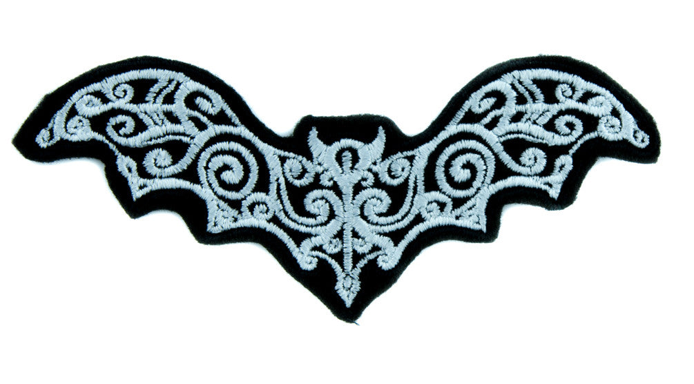 Gothic Wrought Iron Vampire Bat Patch Iron on Applique Dracula