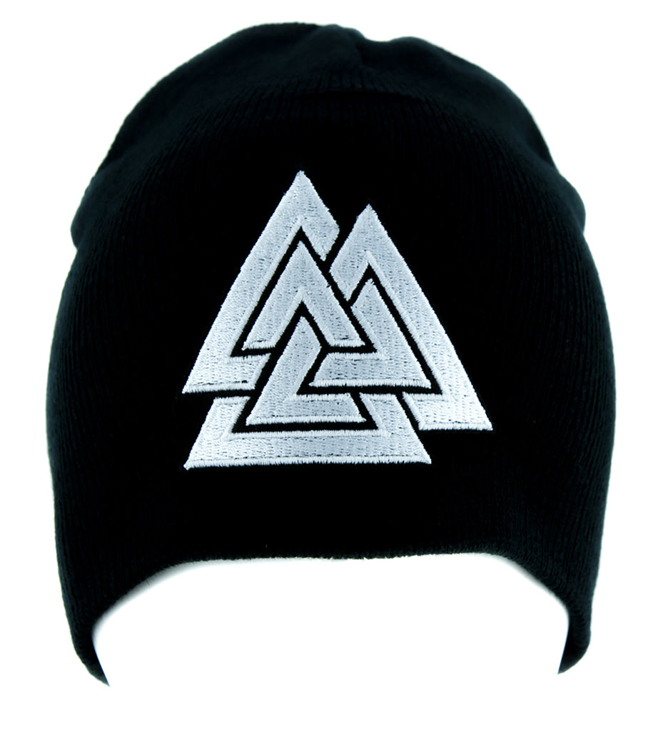 Triangles Valknut Odin Viking Symbol Beanie Alternative Clothing Knit Cap Norse