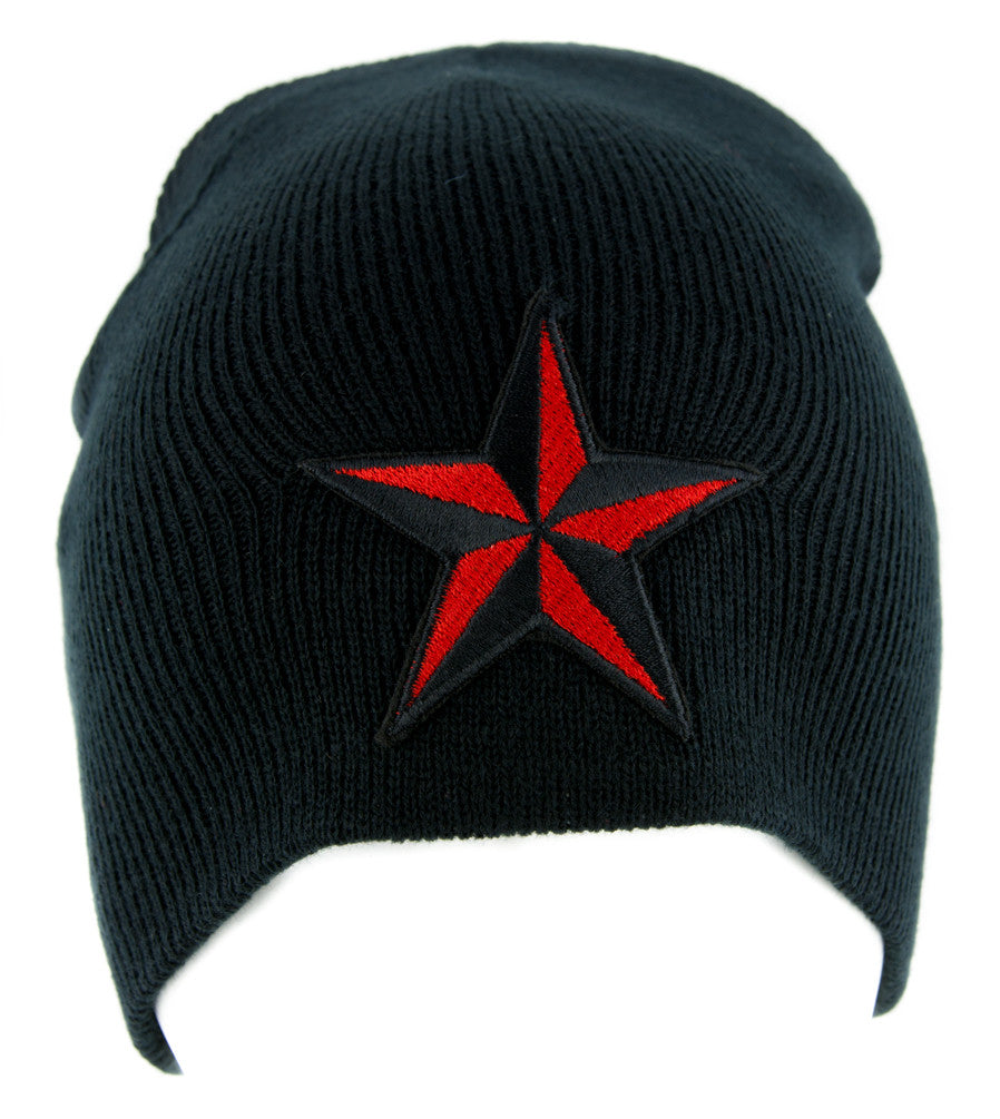 Red Nautical Star Beanie Alternative Clothing Knit Cap Rockabilly Tattoo Ink