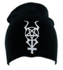 Horned Inverted Pentacross Beanie Knit Cap Occult Clothing Black Metal Pentagram Cross