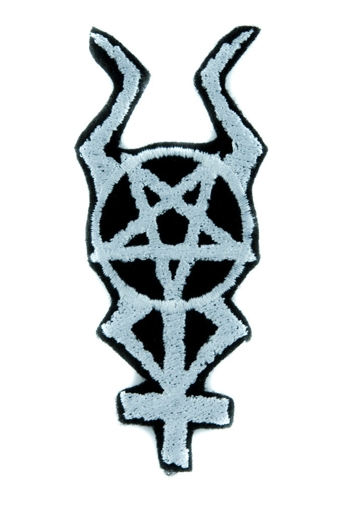 Horned Inverted Pentacross Patch Iron on Applique Black Metal Clothing Pentagram Cross