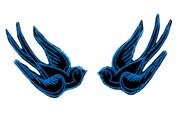 Blue Swallow Sparrows Birds Patch Iron on Applique Alternative Clothing Tattoo Rockabilly