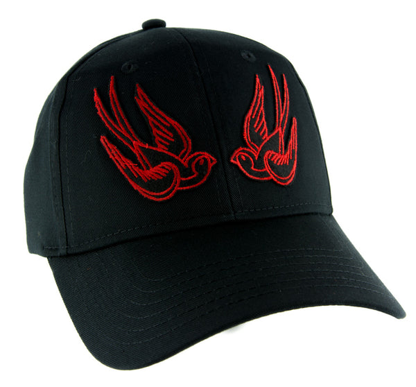 Red Swallow Sparrow Birds Hat Baseball Cap Alternative Clothing Rockabilly Tattoo Symbol