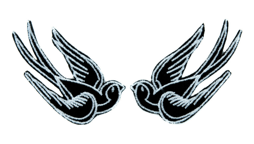 White Swallow Sparrows Birds Patch Iron on Applique Alternative Clothing Tattoo Rockabilly