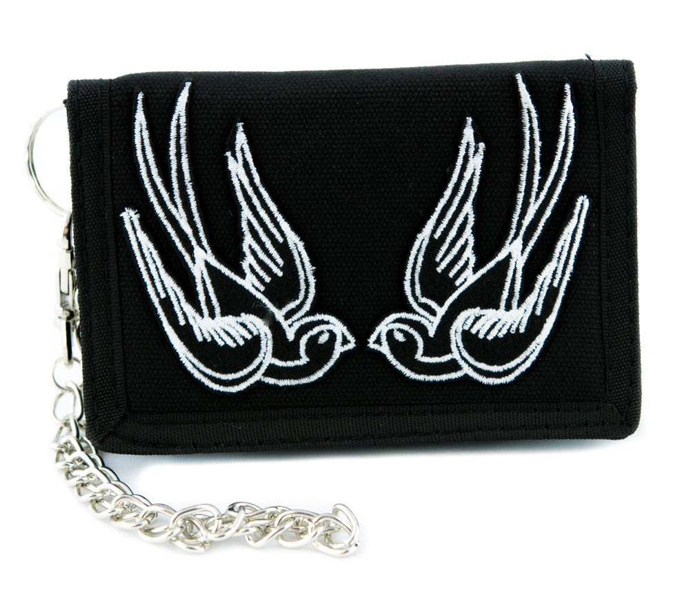 White Swallow Sparrow Birds Tri-fold Wallet Alternative Clothing Rockabilly Tattoo Ink