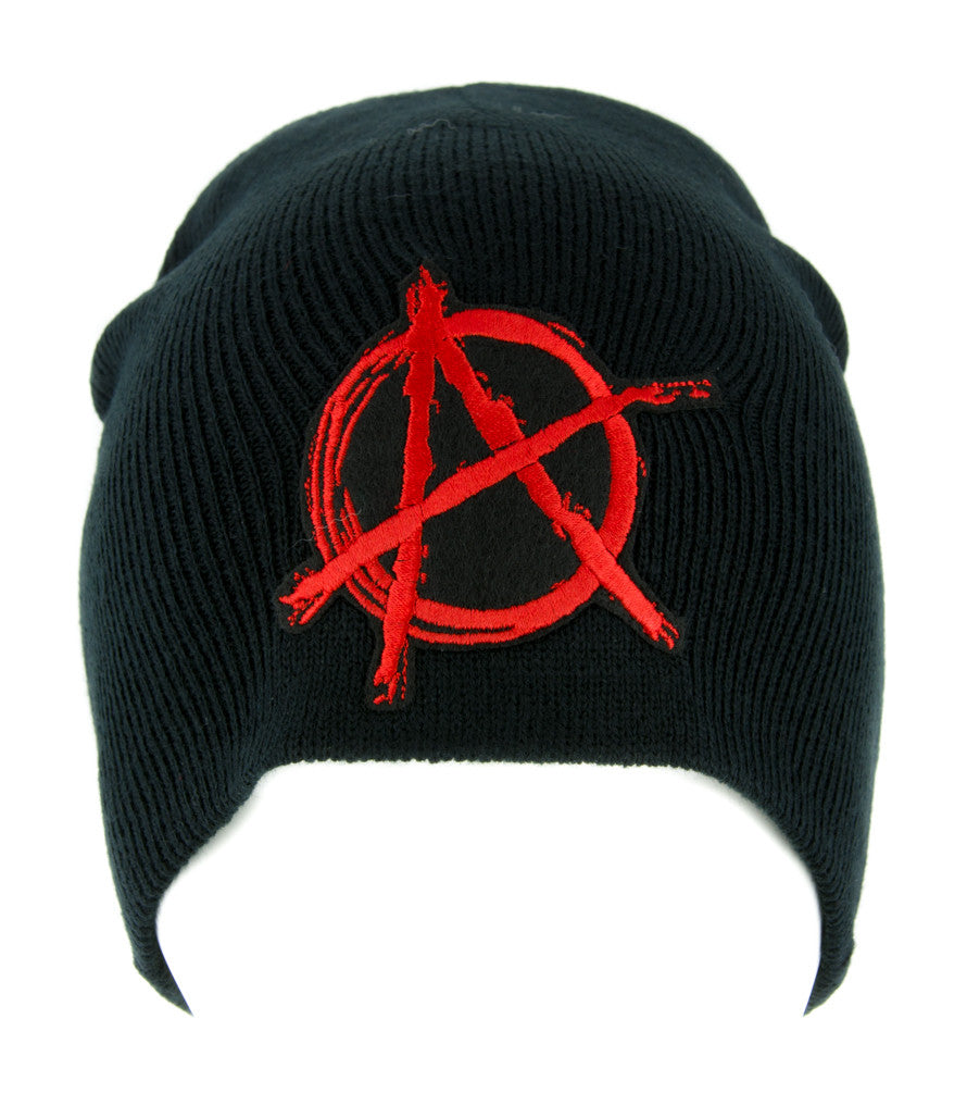 Red Anarchy Sign Beanie Knit Cap Alternative Clothing Punk Rock