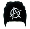 White Anarchy Sign Beanie Knit Cap Alternative Clothing Punk Rock