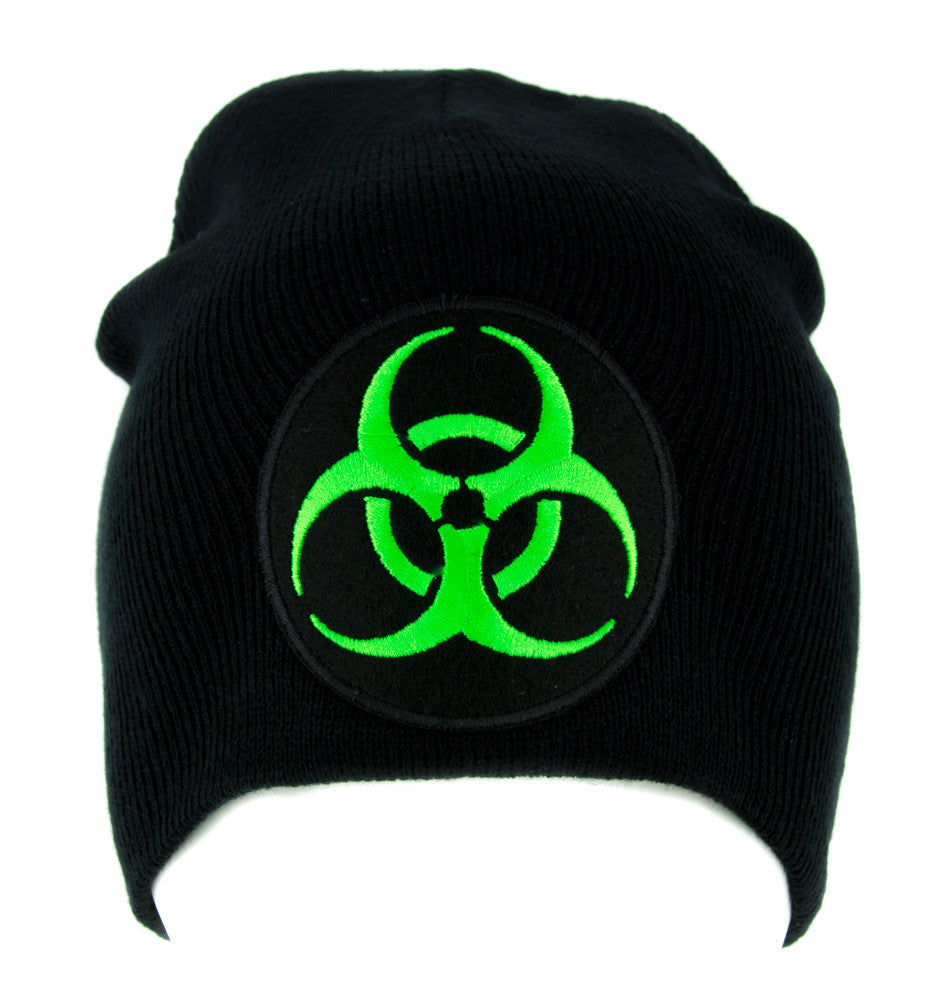 Toxic Green Biohazard Sign Beanie Knit Cap Horror Clothing Zombie Apocalypse