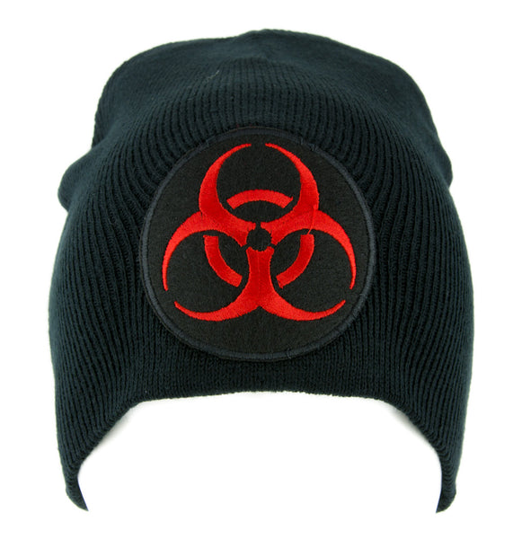 Toxic Red Biohazard Sign Beanie Knit Cap Horror Clothing Zombie Apocalypse