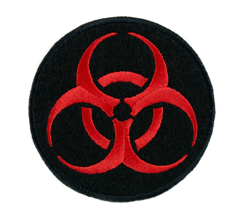 Toxic Red Biohazard Sign Patch Iron on Applique Horror Clothing Zombie Apocalypse