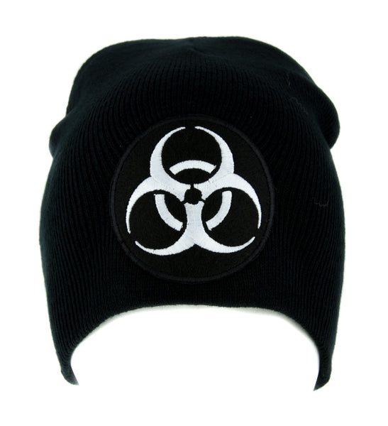 Toxic White Biohazard Sign Beanie Knit Cap Horror Clothing Zombie Apocalypse