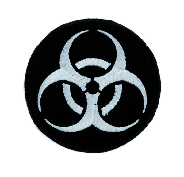 Toxic White Biohazard Sign Patch Iron on Applique Horror Clothing Zombie Apocalypse