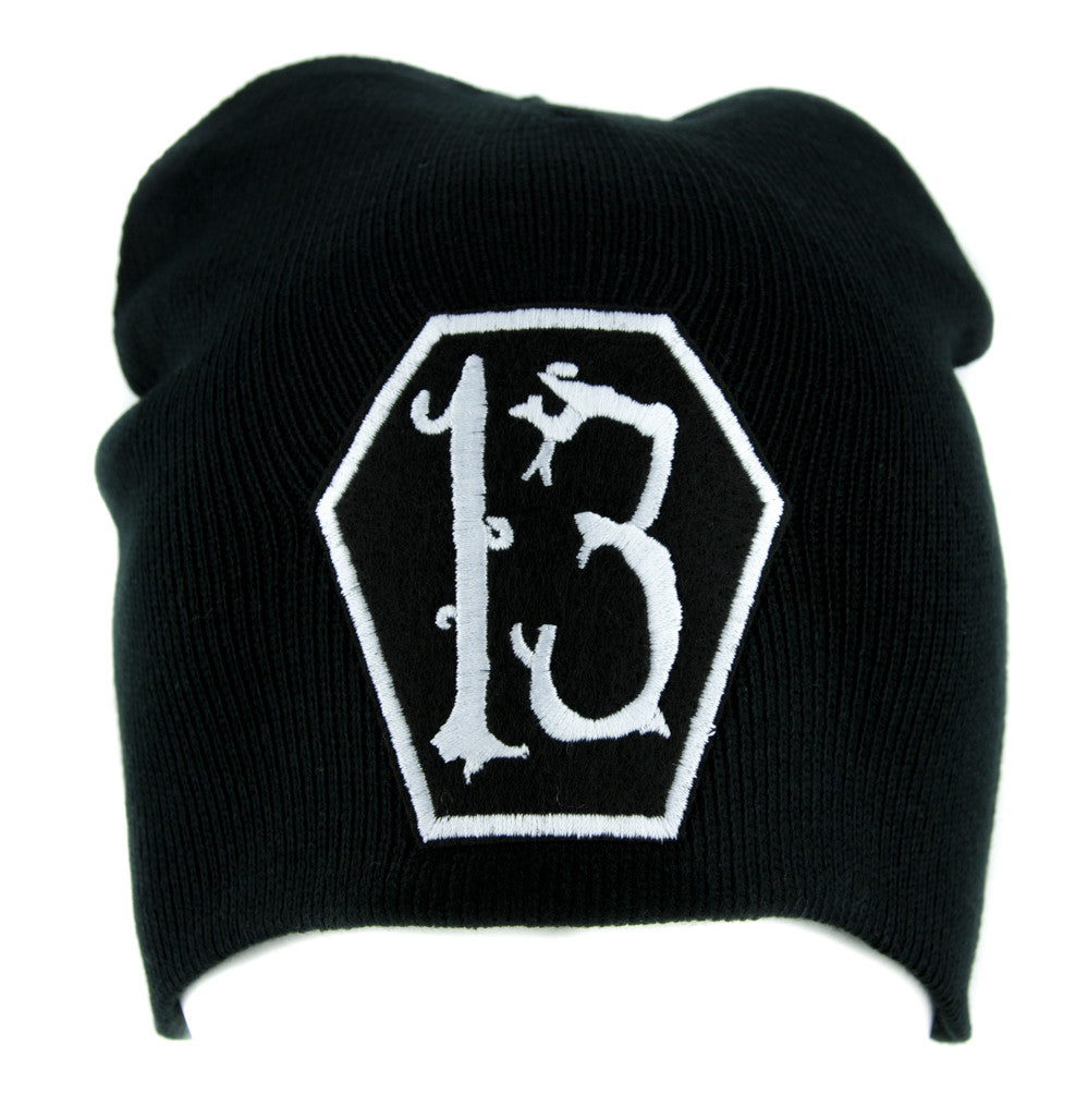 White Coffin Number 13 Thirteen Beanie Knit Cap Alternative Gothic Clothing