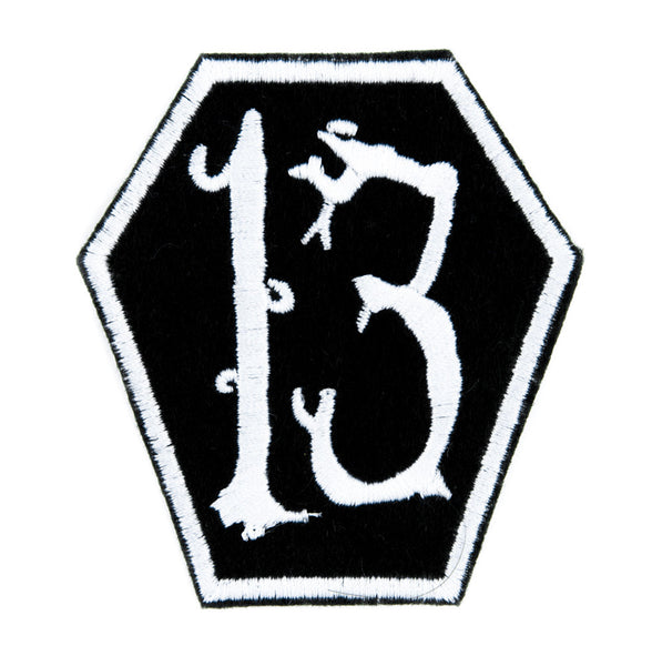 White Coffin 13 Number Thirteen Patch Iron on Applique Alternative Clothing Lucky