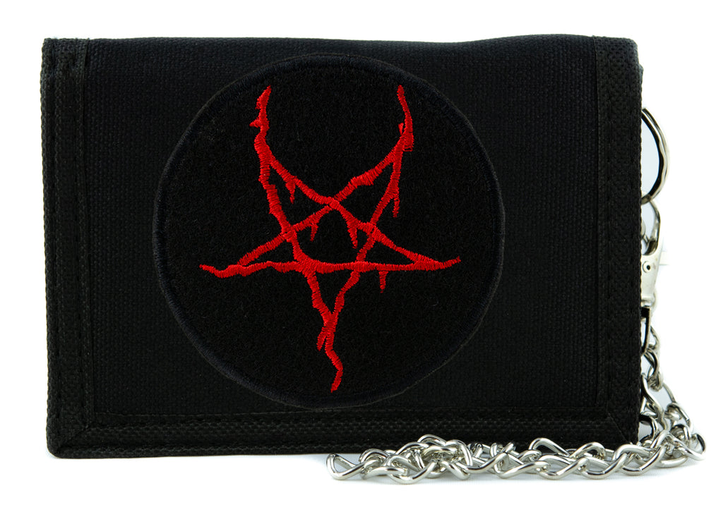 Red Thorn Jagged Inverted Pentagram Tri-fold Wallet with Chain Occult Clothing