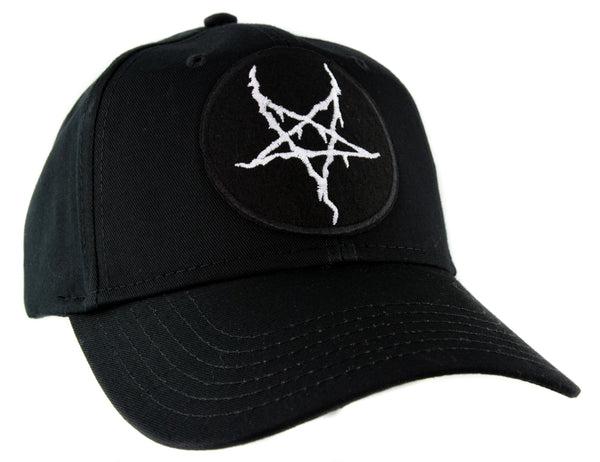 White Thorn Jagged Inverted Pentagram Baseball Cap Hat Occult Metal