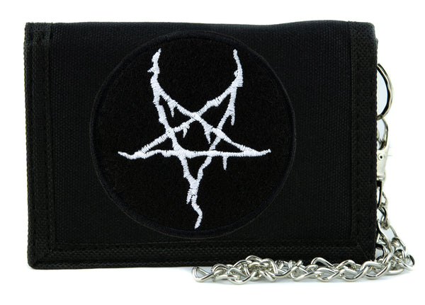 White Thorn Jagged Inverted Pentagram Tri-fold Wallet with Chain Occult Clothing