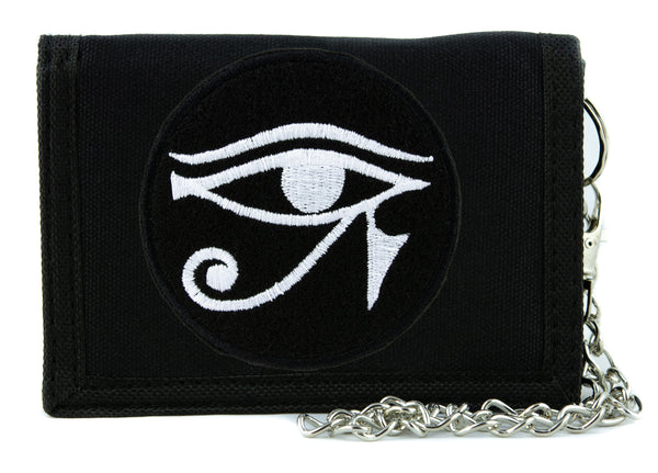 White Egyptian God Eye of Ra Horus Tri-fold Wallet with Chain Occult Clothing