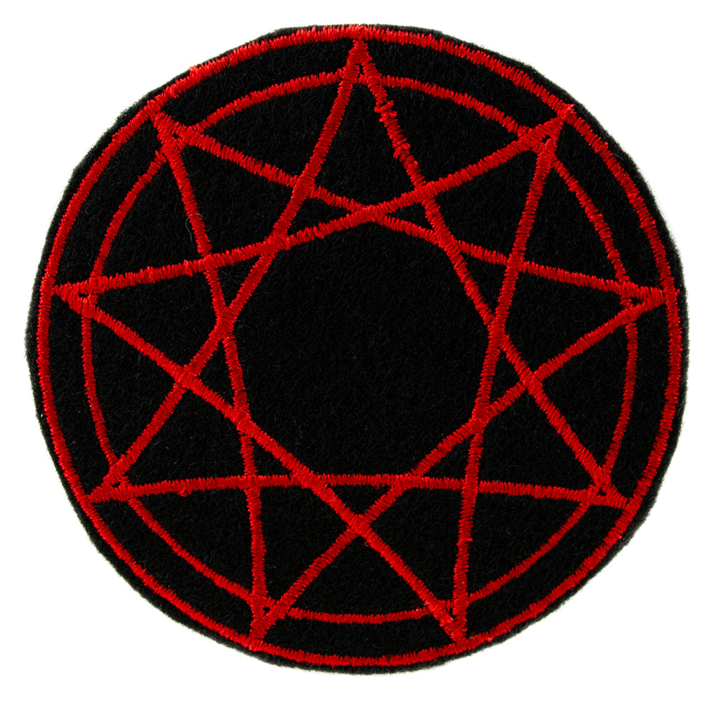 Red 9 Nine Pointed Star Occult Symbol Patch Iron on Applique Alternative Clothing
