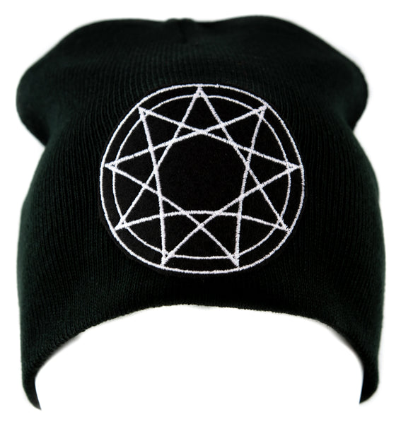 White 9 Nine Pointed Star Occult Symbol Knit Cap Beanie Occult