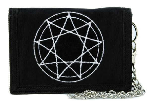 White 9 Nine Pointed Star Occult Symbol  Tri-fold Wallet with Chain Dark Clothing