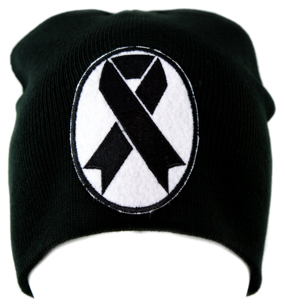 Black Ribbon Death Symbol Knit Cap Beanie Occult Dead Undead
