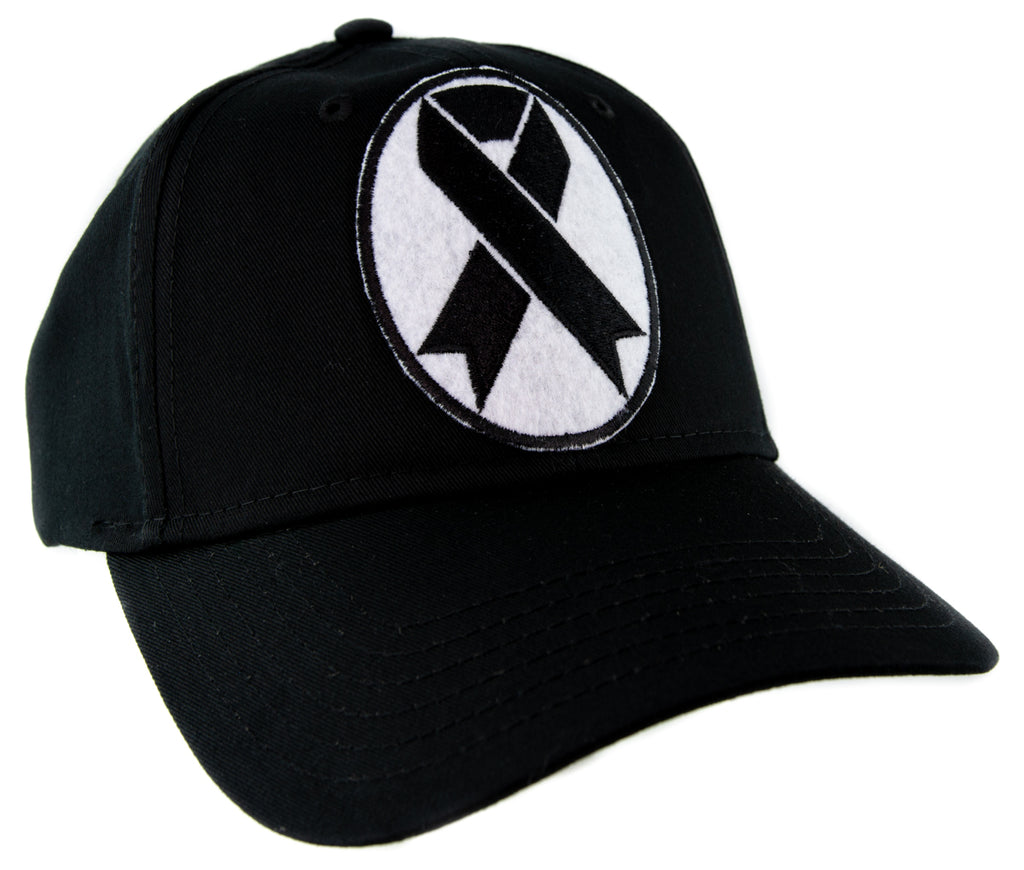 Black Ribbon Death Symbol Baseball Cap Hat Occult