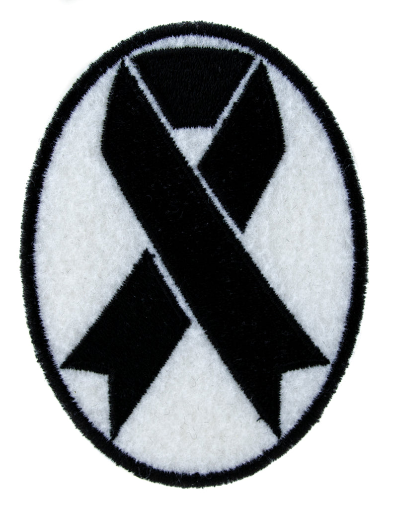 Black Ribbon Death Symbol Patch Iron on Applique Alternative Clothing