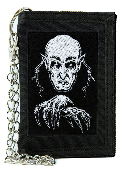 Nosferatu 1922 Vampire Count Orlok Tri-fold Wallet with Chain Horror Clothing