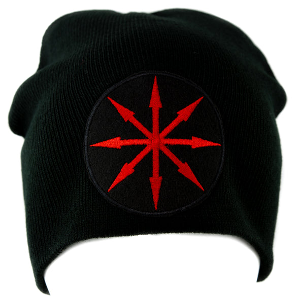 Red Chaos Star Symbol of Eight Arrows Knit Cap Beanie Occult