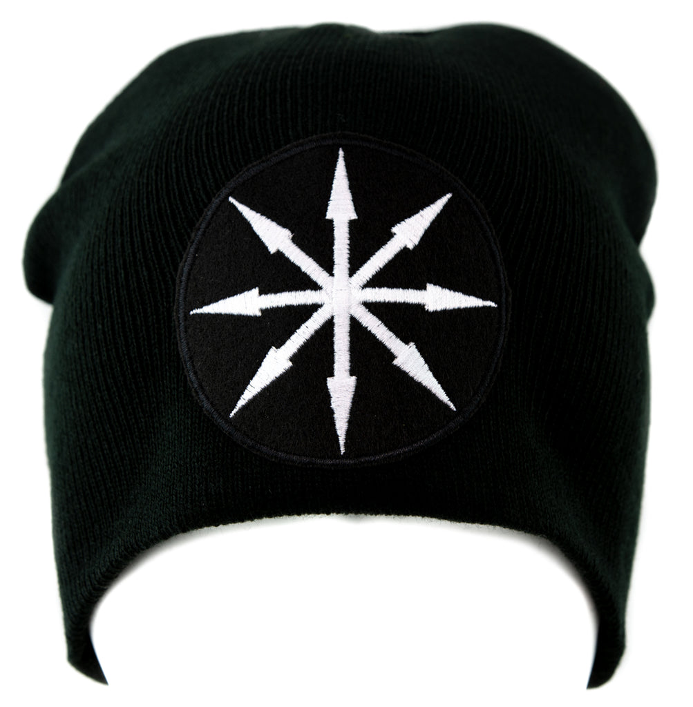 White Chaos Star Symbol of Eight Arrows Knit Cap Beanie Occult