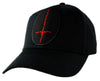 Red Thorn Jagged Inverted Cross Hat Baseball Cap Occult Black Metal