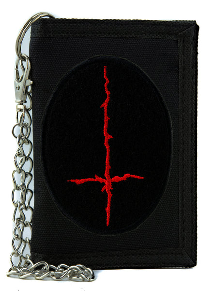 Red Thorn Jagged Inverted Cross Tri-fold Wallet with Chain Occult Clothing