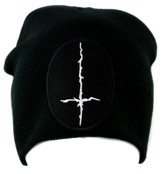 White Thorn Jagged Inverted Cross Knit Cap Beanie Occult