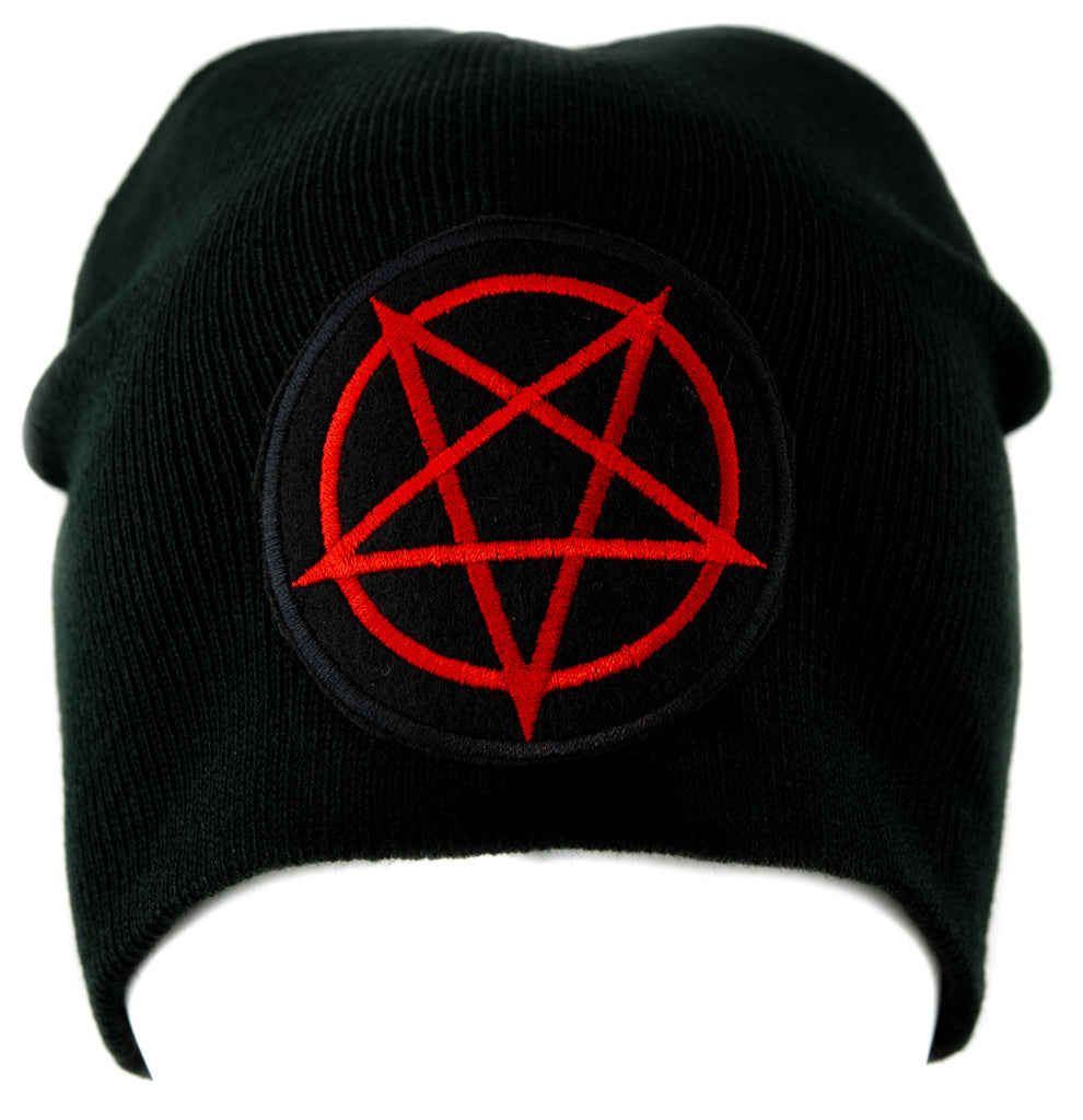 Red Inverted Pentagram Knit Cap Beanie Occult