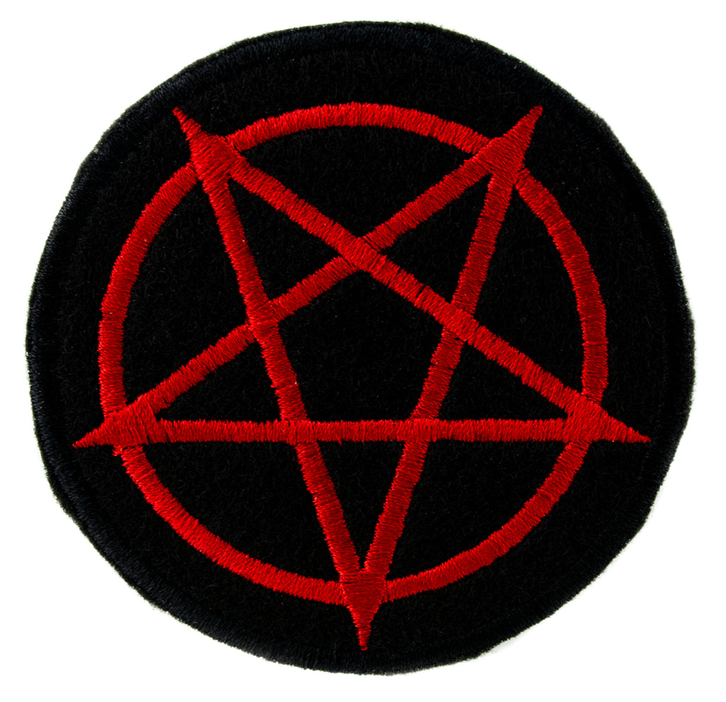 Red Inverted Pentagram Patch Iron on Applique Alternative Clothing