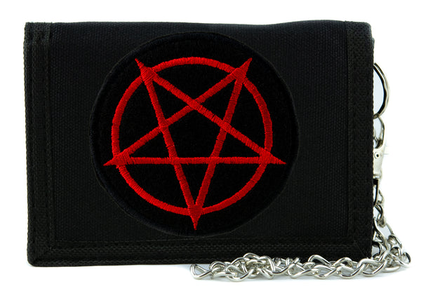 Red Inverted Pentagram Tri-fold Wallet with Chain Occult Metal Clothing