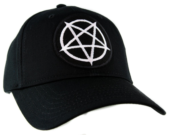 White Inverted Pentagram Hat Baseball Cap Occult Black Metal