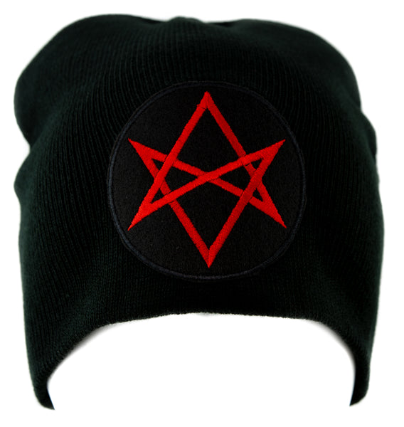 Red Unicursal Hexagram Symbol Knit Cap Beanie Occult