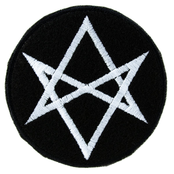 White Unicursal Hexagram Symbol Patch Iron on Applique Alternative Clothing