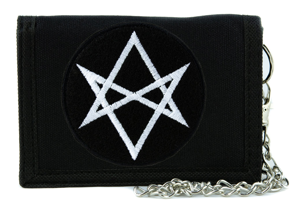 White Unicursal Hexagram Symbol Tri-fold Wallet with Chain Occult Clothing