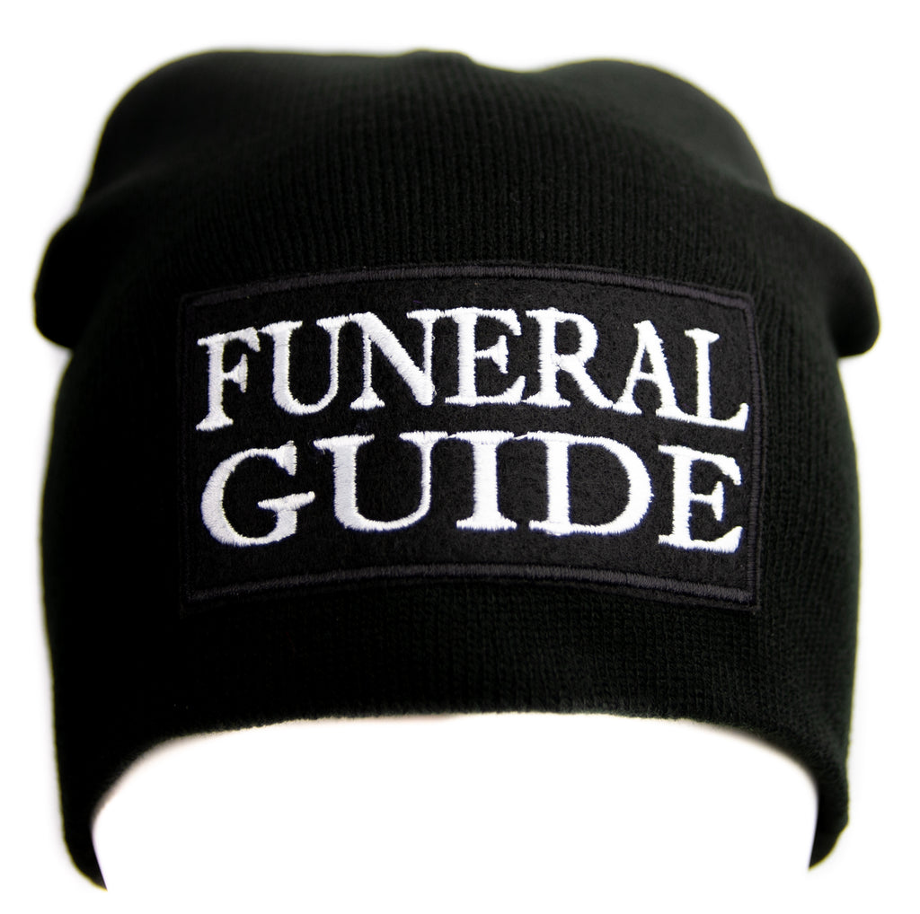 Funeral Guide Black Knit Cap Beanie Occult Horror Dead Undead