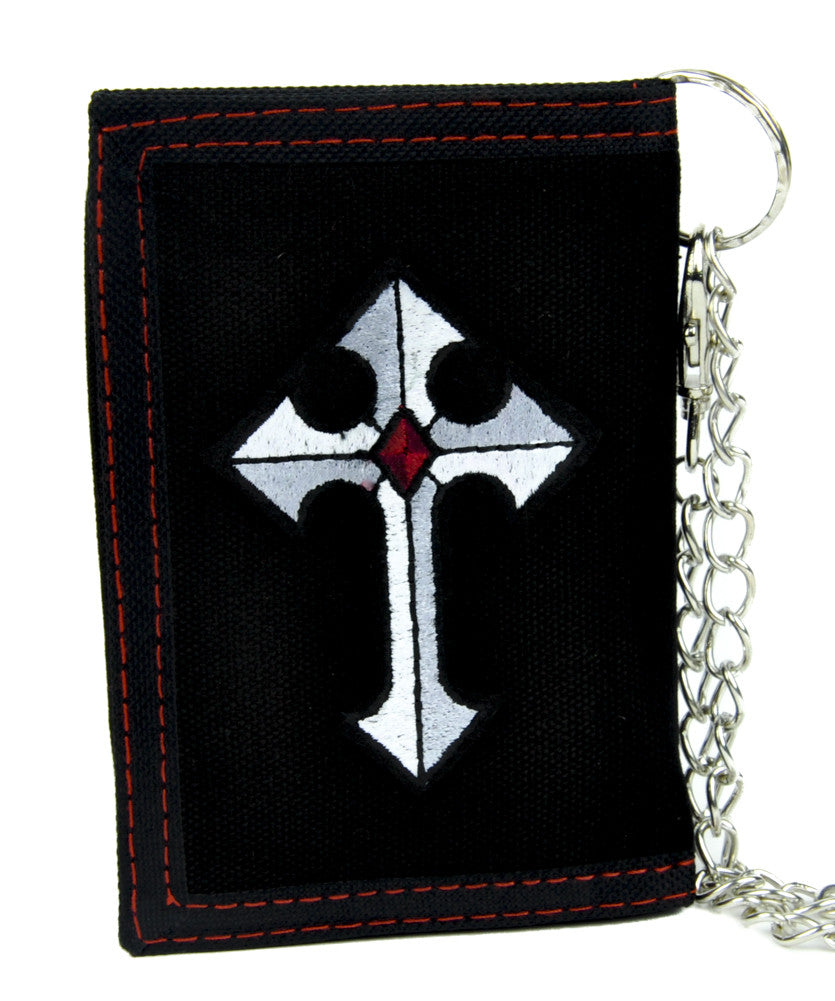 Medieval Holy Cross Tri-fold Wallet with Chain Alternative Clothing Faith