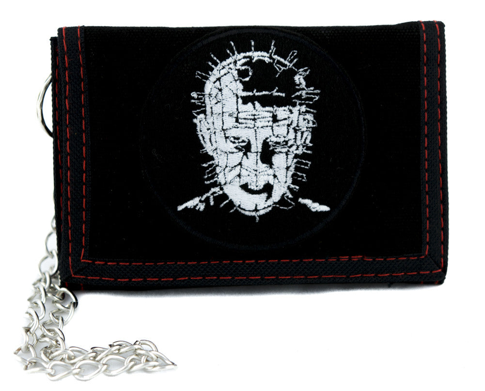 Pinhead Hellraiser Tri-fold Wallet w/ Chain Occult Horror Clothing